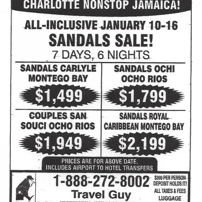 Charlotte Ad: Big Sale! Save $150! Charlotte nonstop Jamaica! All Inclusive January 10-16