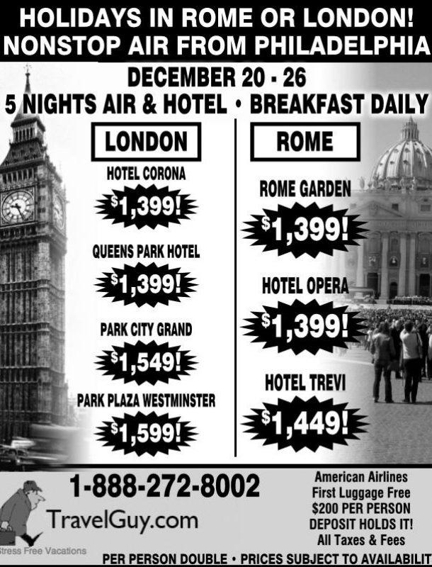 Philadelphia Ad: Holidays in Rome or London! Nonstop air from Philadelphia